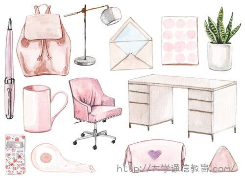 ピンク色でコーディネートされた机・椅子・筆記用具