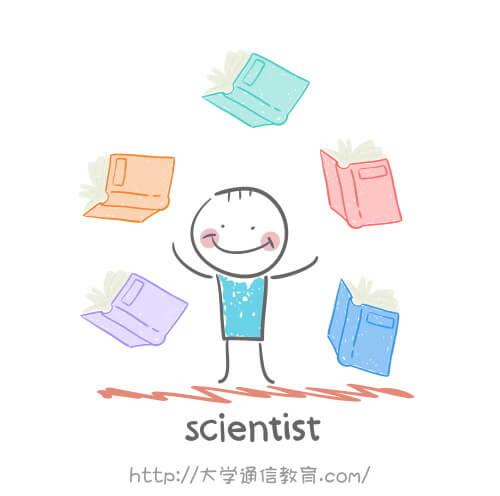 専門図書館で調べ物をする研究者